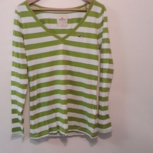 Hollister NEW Green White Stripe Long Sleeve Tee L